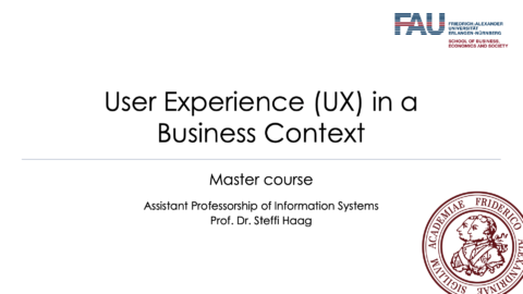 Picture showing User Experience in a business context title page